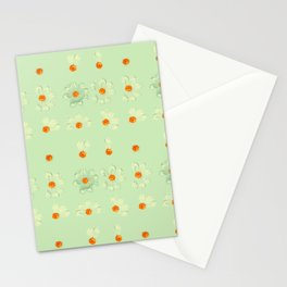 Mint Green Whimsical Real Daisy Flowers Pattern Stationery Cards