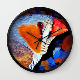 Zebra Finch Painted Wall Clock