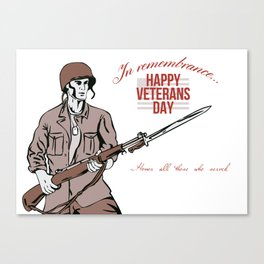 Veterans Day Greeting Card American Soldier Canvas Print