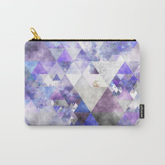 Purple and silver glitter triangle pattern- Abstract watercolor illustration Carry-All Pouch