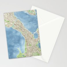City Map Madison Wisconsin watercolor  Stationery Cards