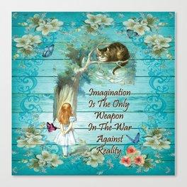 Floral Alice In Wonderland Quote - Imagination Canvas Print