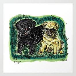 2 pugs Art Print