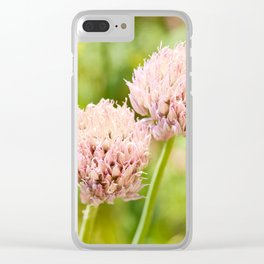 Pink chives flowering plant Clear iPhone Case