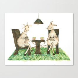 Sheep knitting Canvas Print