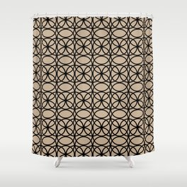 Pantone Hazelnut and Black Rings Circle Heaven 2 Overlapping Ring Design Shower Curtain