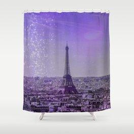 Paris Mon Amour Purple Mixed Media Art Shower Curtain