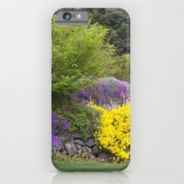 Beautiful Landscape With Purple and Gold Flower, Lush Landscape, Green iPhone Case