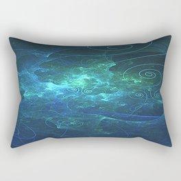 Aqua Flame Fractal Rectangular Pillow