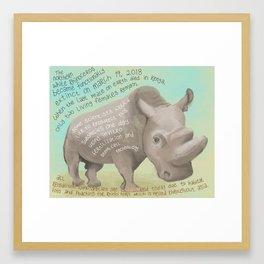Northern White Rhino Framed Art Print