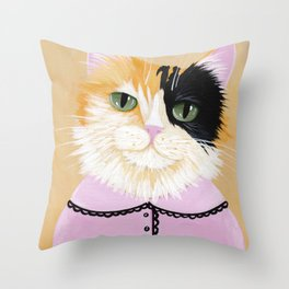 Portrait of Marie the Calico Cat Throw Pillow