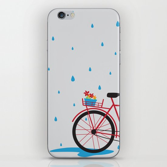 Bicycle & rain iPhone & iPod Skin