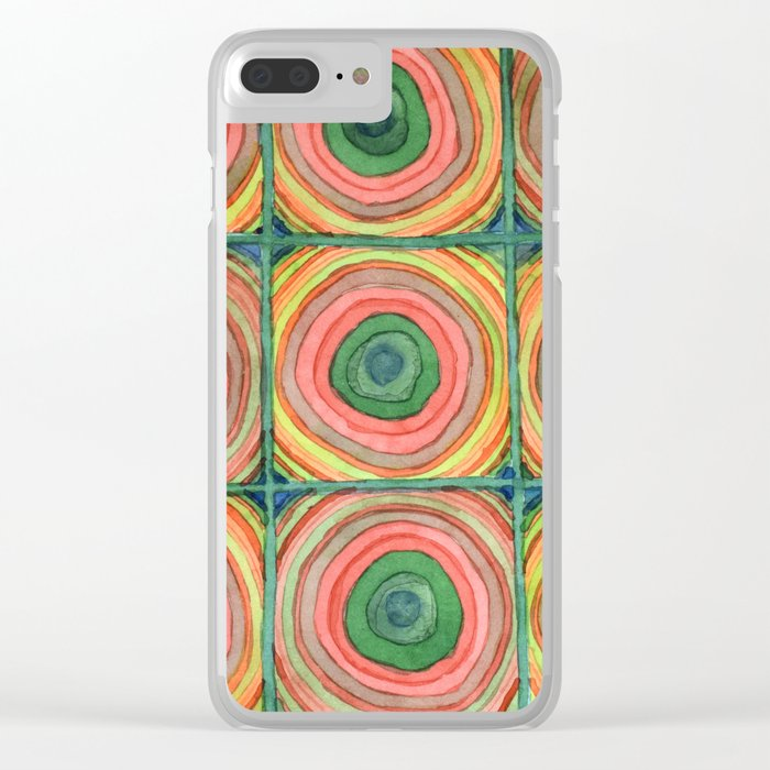 Grid with Psychedelic Rings Clear iPhone Case