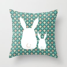Bunny / Vintage pattern #2 Throw Pillow