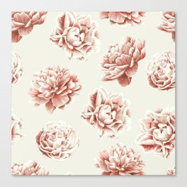 Rose Garden Vintage Rose Pink and Cream Canvas Print