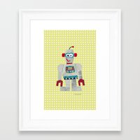 50s Framed Art Prints featuring strumm 50s robot  by blossyfloss