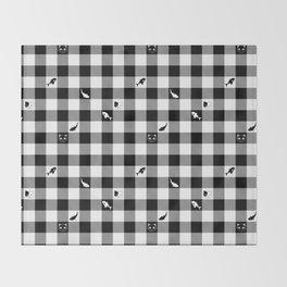 Black and White Checkered Animals Throw Blanket