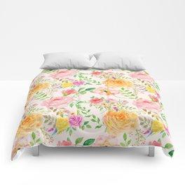 Watercolor Peach Rose Pattern Comforters