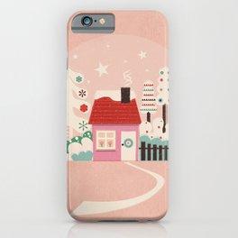 Festive Winter Hut in pink iPhone Case