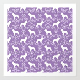 French Bulldog floral minimal purple and white pet silhouette frenchie pattern Art Print