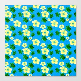 Yellow Hibiscus Hawaiian Pattern Canvas Print
