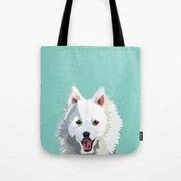 Japanese Spitz pet portrait wall art and gifts for dog breed lovers Tote Bag