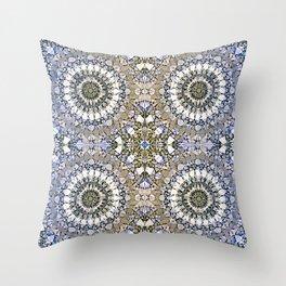 Winter mosaic with mandalas Throw Pillow
