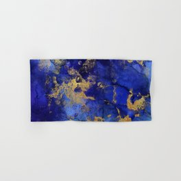 Gold And Blue Indigo Malachite Marble Hand & Bath Towel