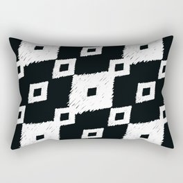 Tribal Ikat Black and White Pattern Rectangular Pillow