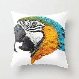 Parrot Face Bird Commemorative Statue Side From Forest Throw Pillow