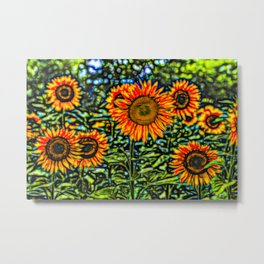Sunflower Kaleidoscope Metal Print