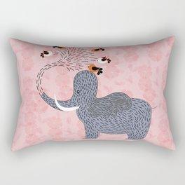 Happy Elephant and cute birds Rectangular Pillow
