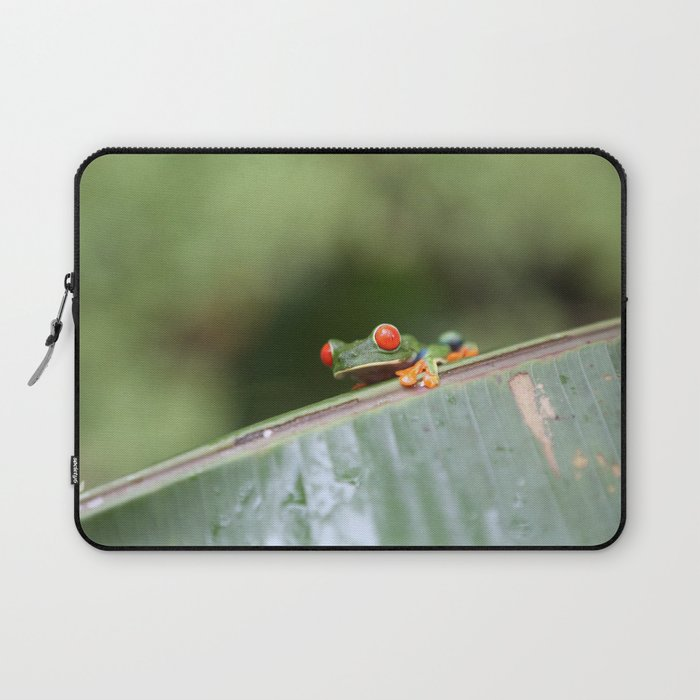 Red eye Frog on leaf Costa Rica Photography Laptop Sleeve