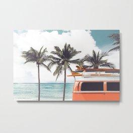 Red surf van Metal Print