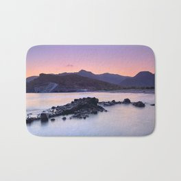 Half Moon Beach. Purple Sunset At The Mountains Bath Mat