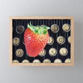 Strawberry typewriter keys Framed Mini Art Print