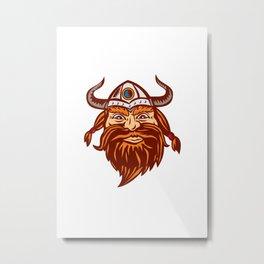 Viking Warrior Head Angry Isolated Retro Metal Print