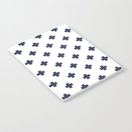 Navy Blue Swiss Cross Pattern Notebook