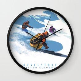 Retro Travel Heliski ski Revelstoke poster Wall Clock