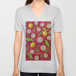 Fruits and leaves pattern (34) Unisex V-Neck