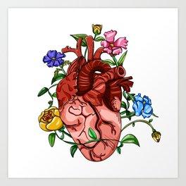 An Overgrown Floral Heart Art Print