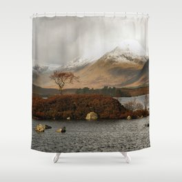 Lone Tree and Dusting of Snow in Mountains of Scotland Shower Curtain