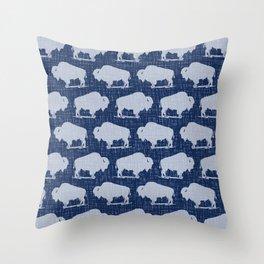 Buffalo Bison Pattern 280 Indigo Denim Throw Pillow