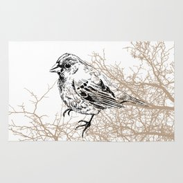 Bird black and white sketch Rug