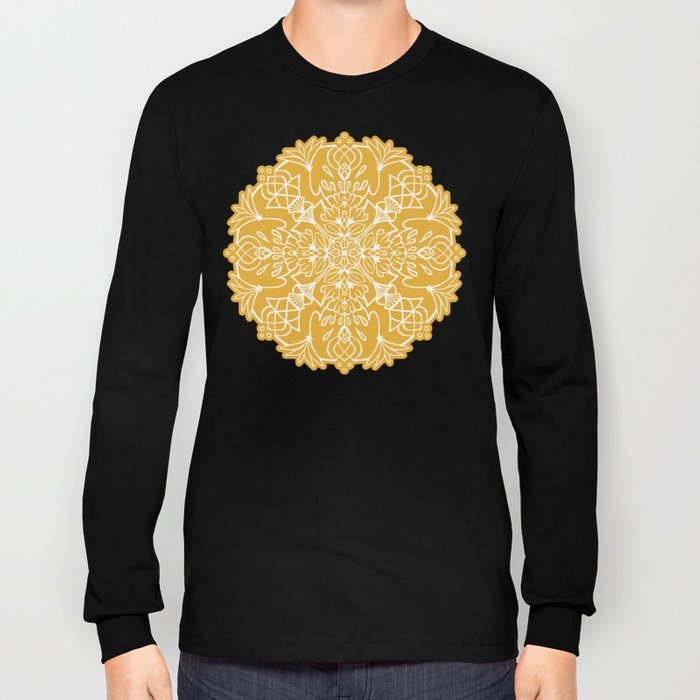 Lotus Mandala - Sunny Yellow Long Sleeve T-shirt