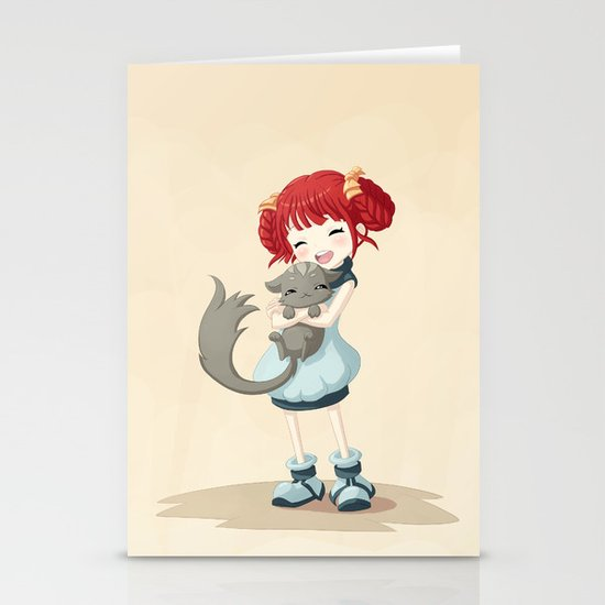 Girl and a Cat Stationery Cards