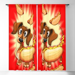 Dachshund Hot Dog Cute and Funny Character Blackout Curtain