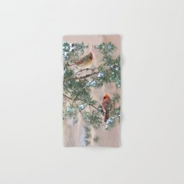 Winter Pair  #2 Cardinals Hand & Bath Towel