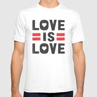 Love is Love MEDIUM White Mens Fitted Tee