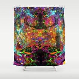 Black Fire Alien Heads Shower Curtain